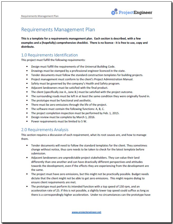 Do You need a Requirements Management Plan? - management plan template