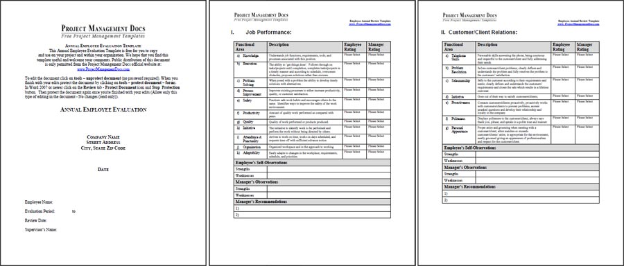 Employee Annual Review Template - Project Management Docs