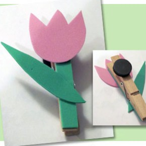 Cute tulip clothespin magnet