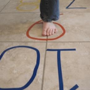 Play hopscotch inside or outside