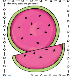 Watermelon Coloring page and counting activity