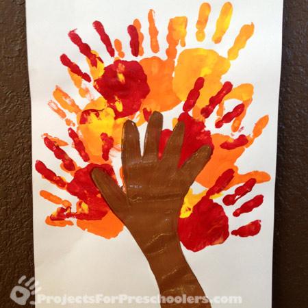 Painted handprint tree