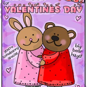 Bunny bear hugs Valentines Day coloring page