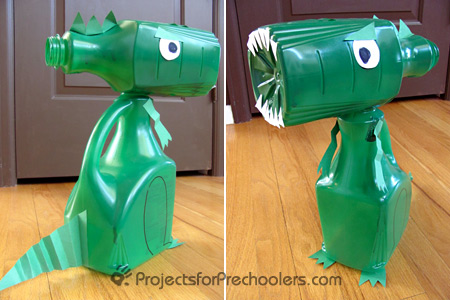 dinosaur made from juice bottles