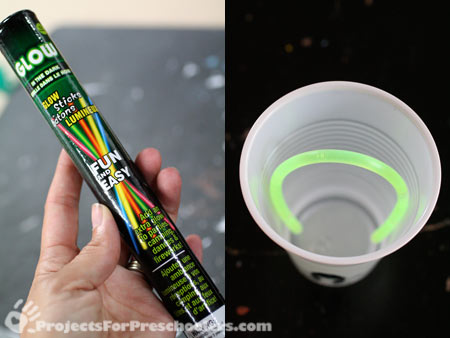 Glowstick bracelets inside the cup for a glowing ghost