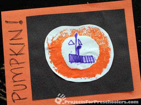Cute pumpkin picture made with a real pumpkin for printing