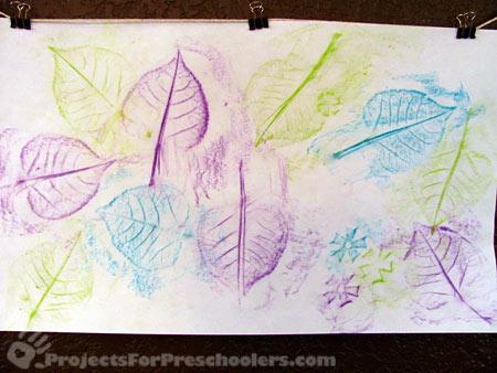 Leaf rubbing art with preschoolers