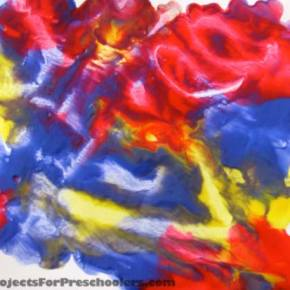 Wax paper finger painting