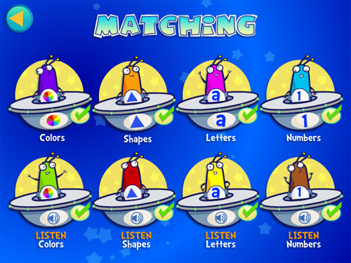 8 different Alien Buddies matching games for preschoolers