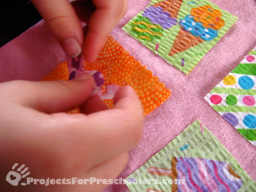apply fabric scrap to glue and let dry