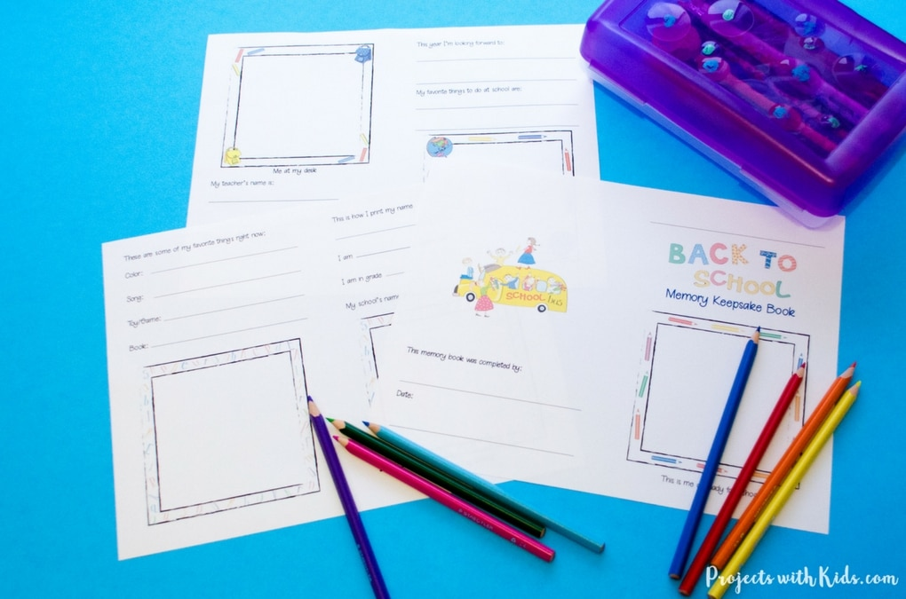 Free printable back to school memory book Projects with Kids