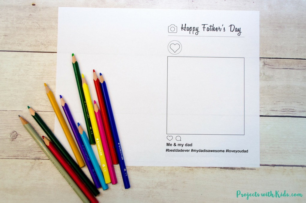 Free Printable Father\u0027s Day Card Activity Projects with Kids