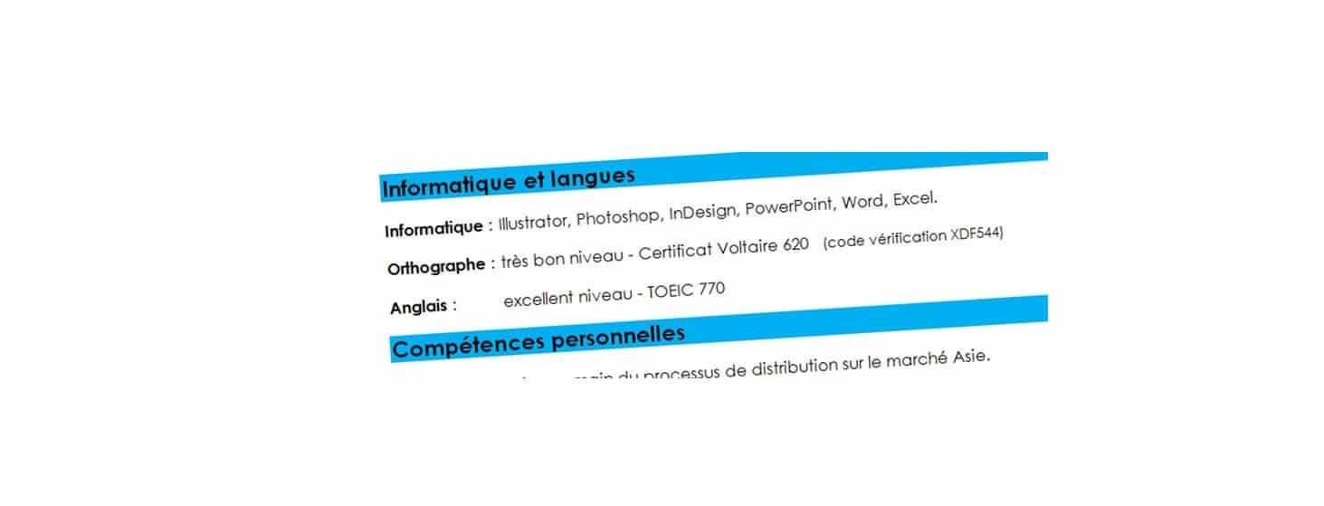 ou mettre certification voltaire sur cv