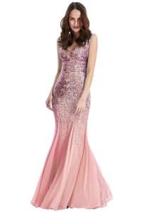 Pink Sequin Omari Maxi Prom Dress | Sequin Maxi Prom Gown ...