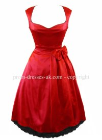 Red Satin Bow Prom Dress