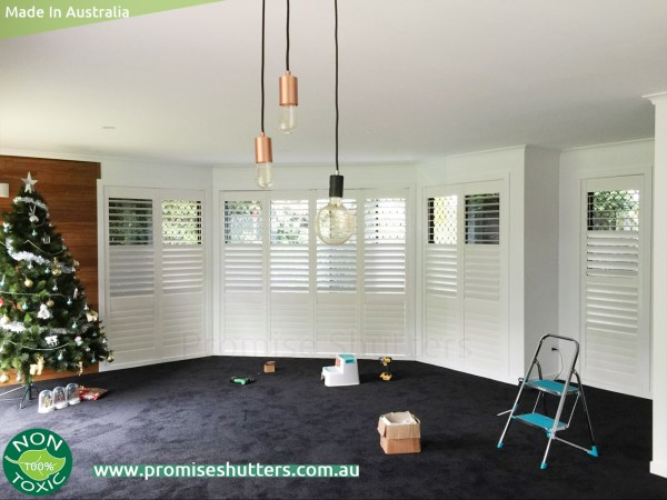 bayview window with plantation shutters