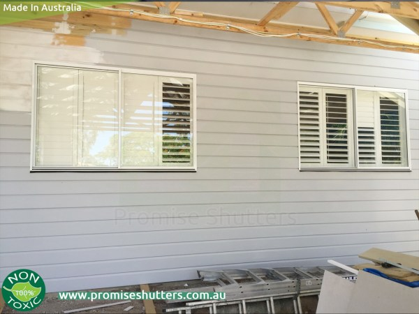 white solid Vinyl shutters installed in 2 & 4 panels without added frames,