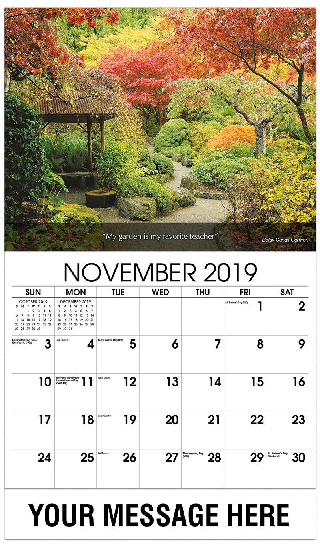 november 2019 calendar landscape