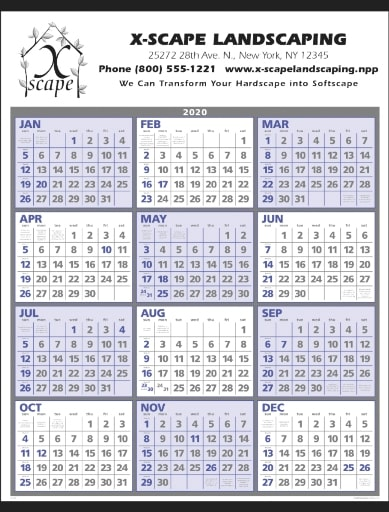 Year at a Glance Classic Promotional Wall Calendars Colors