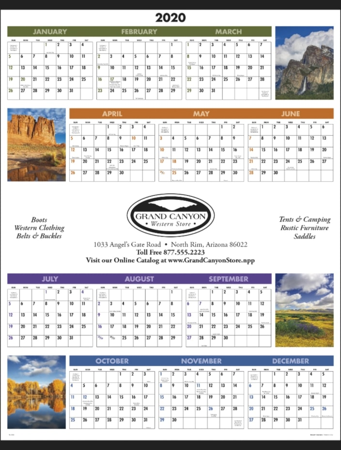 Year at a Glance Scenic Promotional Wall Calendar