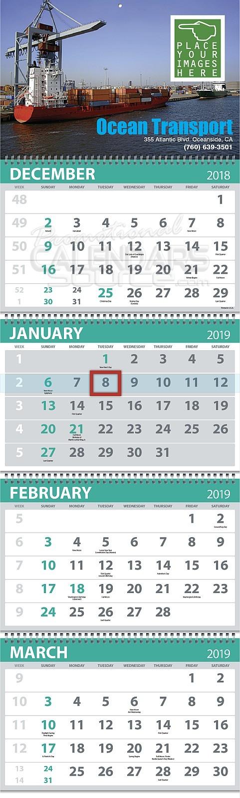 4-Month View 5-Panel Custom Commercial Calendar 13x42