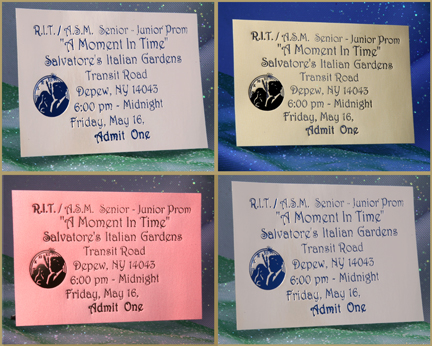 Hot Stamp Foil Imprinted Prom Tickets Formal Prom Tickets Keepsake