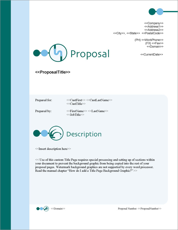 Proposal Pack Plumbing #1 - Software, Templates, Samples - manual cover page template