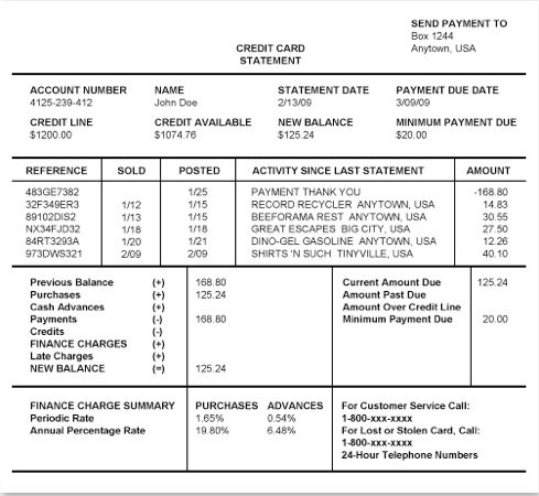 Sample Credit Card Statement - ProProfs Quiz