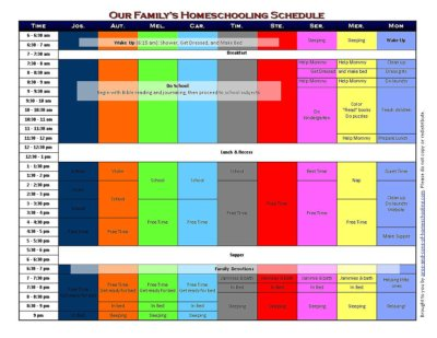5 Free Printable Homeschool Schedules and Printable Homeschool Forms - homeschool schedule template