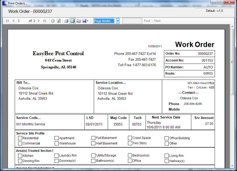 Pest Control Software - Screen Shot - Print Work Orders