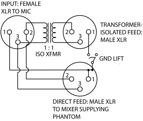phantom power microphone mute schematic