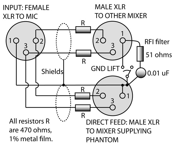 phantom microphone power schematic