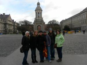 Photo courtesy of Jody Littleton/Parkland College Katelyn Delia Hofgren, Jennifer Lynn, Jody Littleton, Kelly Chaika, Madison Roberts, Leah Nicole stand in the courtyard of Carlow College in Ireland.