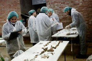 Photo courtesy of AP Photo/Daniel Ochoa de Olza A team of archaeologists and anthropologists take notes after starting the excavation work after identifying three unrecorded and unidentified graves in the chapel's crypt of the closed order Convent of the Barefoot Trinitarians in Madrid's historic Barrio de las Letras, or Literary Quarter, Spain, Saturday, Jan. 24, 2015. Experts searching for the remains of Miguel de Cervantes hope they may be entering the final phase of their nine-month quest to solve the mystery of where the great Spanish writer was laid to rest. The 'Don Quixote' author was buried in 1616 at the Convent but the exact whereabouts of his grave in the tiny convent chapel are unknown. The bones found will be exhumed and analyze, after that, the experts will try to identify the bones using DNA profiling.