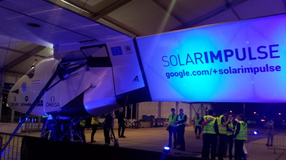Aya Batrawy | AP Photo  The Solar Impulse 2 prepares to depart from Abu Dhabi, United Arab Emirates, early Monday, March 9, 2015. The Swiss solar-powered plane took off from Abu Dhabi early Monday, marking the start of the first attempt to fly around the world without a drop of fuel.