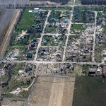 Photo courtesy of Danielle Guerra | Daily Chronicle, Chicago Tribune, AP Photo This aerial photo shows a path of destruction Friday, April 10, 2015, after a tornado swept through the small town of Fairdale, Ill., in DeKalb County Thursday night. The National Weather Service says at least two tornadoes churned through six north-central Illinois counties. Illinois Gov. Bruce Rauner declared DeKalb and Ogle counties affected by the severe storms and tornadoes as disaster areas.