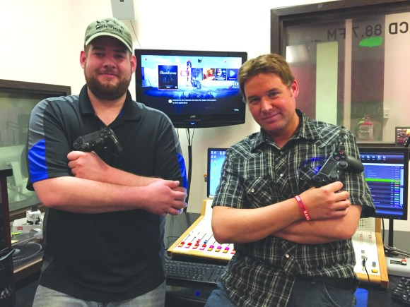 "Photo by Deane Geiken | Parkland College Parkland students Wes Stites (left) and Jason Haye (right) co-host the radio show ""Afternoon Delight"" on 88.7 WPCD, Parkland College's radio station."