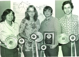 Photo courtesy of Parkland Archives From left to right, Parkland Equine Management students Monika Tross, Laetitia Johnson, Andy Metcalf, and Mike Potter proudly display their awards from a youth horse judging event in 1983.