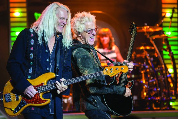 Photo by Scott Wells | The Prospectus REO Speedwagon's Bruce Hall and Kevin Cronin perform at The Virginia Theater on Monday, Nov. 9, 2015. Before their rise to stardom, REO was a local band that often played at The Red Lion in Champaign.