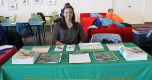 Photo by Kelcey Williams | Wellness Coordinator Sara Maxwell tends the information table at the Pregnancy and Parenting Wellness Fair on March 15.