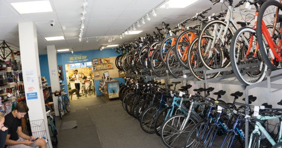 Photo by Derian Silva | Racks of bicycles are seen at Neutral Cycle in Champaign.