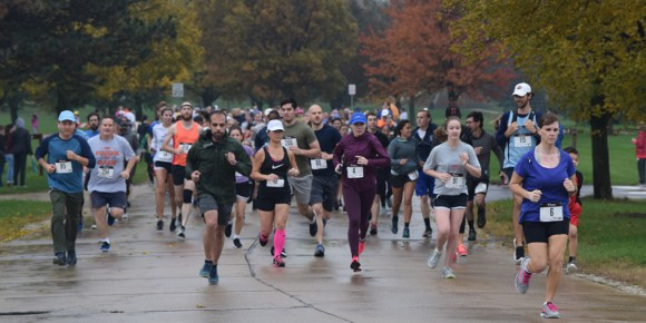 Photo by Tom Warner | Runners take part in Champaign-Urbana Special Recreation's Cupcake 5K Run, Roll and Recreational Walk at Dodds Park on Nov. 5.