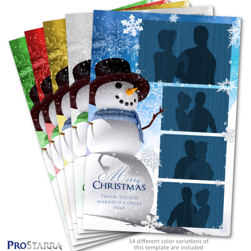 Christmas Snowman 4×6 inch Photo Booth Template Layout - ProStarra