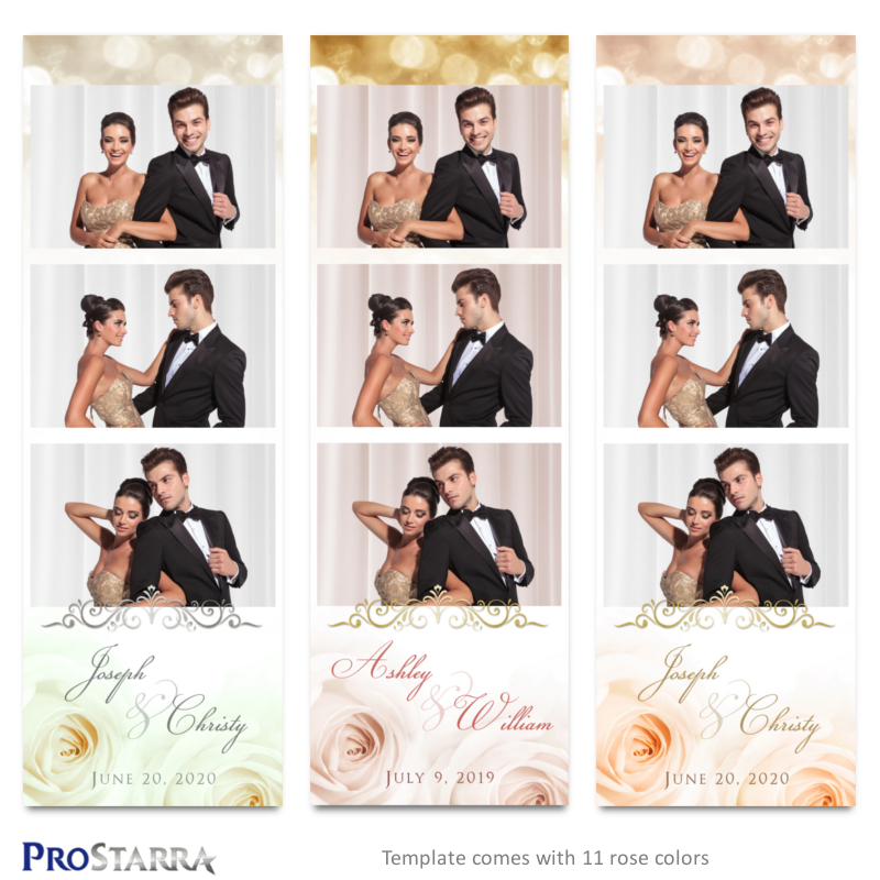 Roses and Sparkles 2×6 inch Elegant Wedding Photo Booth, Photo