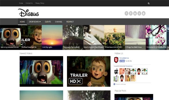 Digbug Video Responsive Blogger Template
