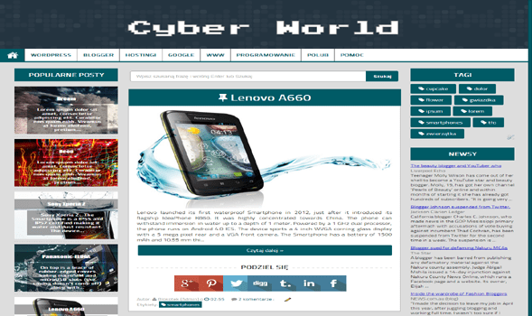 Cyber World Responsive Blogger Template