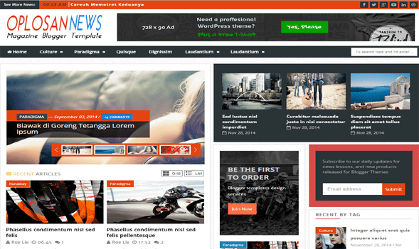 Oplosan-News-Blogger-Template