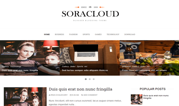 Sora-Cloud-Blogger-Template
