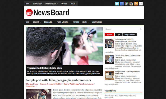 newsboard blogger template