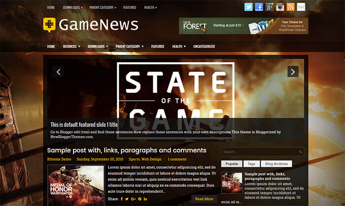 gamenews blogger template